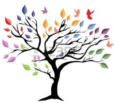 Tree with colorful leaves vector image on VectorStock Kinds Of Salad, Tree Art, Tree Of Life, Free Images, Creations, Birds, Drawings, Pretty, Abstract