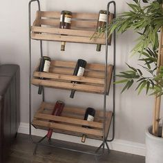 Wooden Pallet Furniture Wood/Metal 18 Bottle Floor Wine Rack - Wine country wood and metal wine rack, light brown three-layer Chinese fir wood pallet style rack, gray metal stand and brackets. Iron Wine Rack, Wood Wine Racks, Wine Glass Rack, Vin Palette, Palette Diy, Wooden Pallet Furniture, Wooden Pallets, Palette Furniture, Furniture Ideas