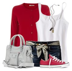 """""""Bow Shorts"""" by wishlist123 ❤ liked on Polyvore featuring Oasis, Pepe Jeans London, Armani Exchange, Converse and Balenciaga"""