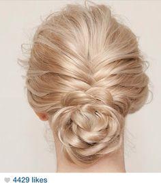 French braid flower bun #avedaibw