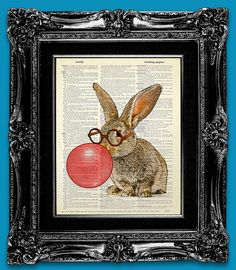 Bunny RABBIT Art Print Rabbit Decor BOOK ART Bunny by iFUNmagine, $10.00