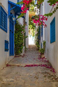 Tunisia street - Beautiflul street in tunisia Travel Photography, Sidewalk, Street, Side Walkway, Sidewalks, Walkway, Pavement, Walkways, Travel Photos