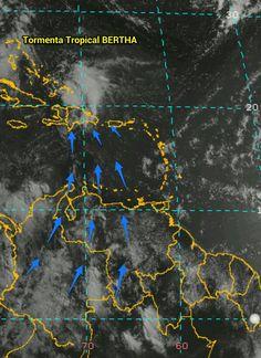 """Se mantiene el cambio de la dinámica del patrón de vientos sobre Venezuela por efectos indirectos de la Tormenta Tropical #Bertha a medida que se desplace hacia el Oeste """"arrastra"""" mucho aire cálido desde el Sur-Sureste favoreciendo la generación de nubes productoras de precipitaciones. El día sábado 2/8/2014 este patrón afectó al Oriente, Llanos centrales, Norcentro, y zona Norte del Estado Zulia. Destacable la gran actividad eléctrica en las zonas mencionadas, con chaparrones."""
