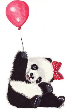 Happy Panda with Red Balloon Print of Original by OzarksArtStudio