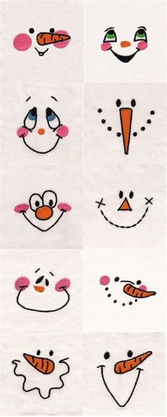 Use for Hand Embroidery snowman… Snowman Faces Embroidery Machine Design Details. Use for Hand Embroidery snowman, doll faces. Snowman Faces, Cute Snowman, Snowman Ornaments, Snowman Wreath, How To Draw Snowman, Snowman Quilt, Felt Snowman, Ornaments Ideas, Homemade Ornaments