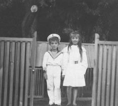 Here is a photo of Grand Duchess Anastasia and her brother the Tsarevitch Alexei, circa 1910.  All of the Grand Duchesses were very attached to their brother, especially Anastasia, who was closest to him in age.