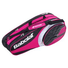 "With one racquet compartment that holds up to 6 racquets, the Babolat Club Line 6 Pack Tennis Bag    features one main compartment to carry all your gear and one side  pocket for accessories and personal items. Includes a quick grab handle  and one padded adjustable shoulder strap for comfort and convenience.Dimensions: L29.1"" x W9.4"" x H13""Color: Pink/Black/WhiteIs this the right bag for your game"
