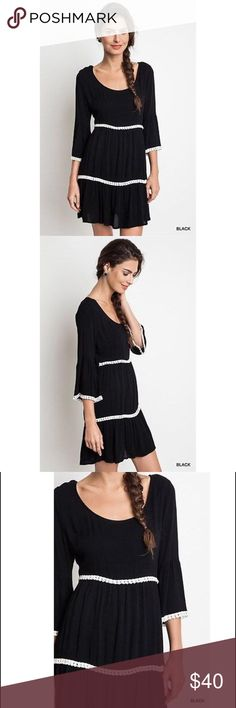 "Umgee USA ~ A Fabulous In Fringe Dress/Tunic A lightweight three tier, 3/4 bell sleeve dress with fringe detail make this Boho styled piece a winner for Umgee's runway collection.   60% Cotton, 40% Polyester. Measurements: Chest: 39-40""; Waist: 31-32"", Hips: 40-41""; Length: 34"". (Comparable to a size 10/12).  The fit is intended to be oversized giving it a young and contemporary spin.  Wear alone as a dress or looks amazing over leggings and a pair of heels! Umgee USA Dresses Mini"