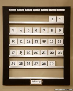 Make a lovely reusable tile calendar with numbers and holiday icons that pop in and out each month.