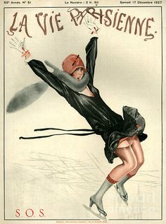 La Vive Parisienne magazine with ice skating cover, 1927