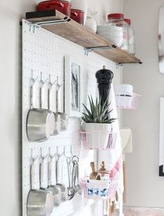 Pegboard with plants
