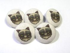 Fabric buttons Grumpy Cat covered bag purse by ReginaStitchery