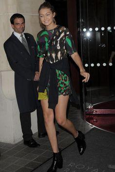 Gigi Hadid wearing Rag & Bone Circle Crossbody Bag and Versace Spring 2016