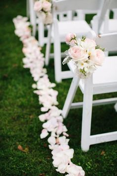Wedding Flower Arrangements Photo by Jamie Delaine Photography, Flowers by Garden Party Flowers - Aisle markers featured lush pink and ivory blossoms. Photo by Jamie Delaine Photography Flowers by Garden Party Flowers Venue: Brock House Wedding Ceremony Chairs, Wedding Aisle Outdoor, Wedding Aisle Decorations, Wedding Centerpieces, Outdoor Ceremony, Flower Decorations, Wedding Table, Arch Decoration, Altar Decorations