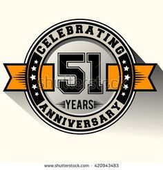 Celebrating 51st anniversary logo, 51 years anniversary sign with ribbon, retro design. - stock vector