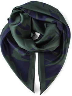 $194, Dark Green Print Scarf: McQ by Alexander McQueen Mcq Alexander Mcqueen Swallow Print Scarf. Sold by farfetch.com. Click for more info: http://lookastic.com/men/shop_items/115074/redirect