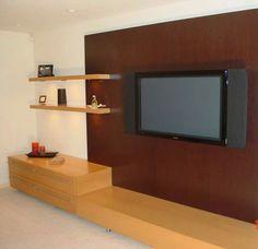 One bedroom units for rent Bedroom Tv Unit Design, Tv In Bedroom, Bedroom Dressers, Modern Bedroom, Wooden Rack, Wooden Shelves, Floating Shelves, Wooden Cabinets, Wooden Walls
