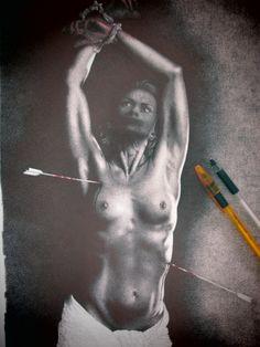 """""""S.SEBASTIANO"""" disegno a BIC su carta, 33x48cm, Roma 2014"""