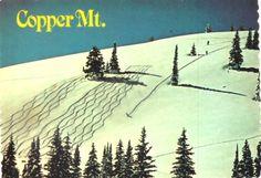 "Copper Mountain in The Rockies ""Tracks and Shadows"" in Colorado Vintage Retro Ski Skiing"