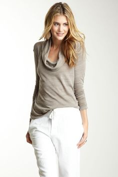 James Perse Long Sleeve Relaxed Cowl Neck Top