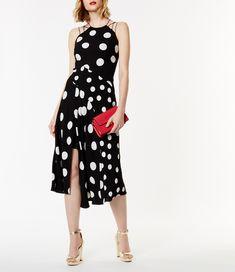 Karen Millen, Polka Dot Midi Dress Black & White