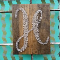 $39.99 String Art Initial Custom Monogram Sign H Sign Initial Wedding Gift Monogram on Stained wood Custom Inital Sign  Gallery Wall Letter Entry Way Initial Handmade by NailedItDesign on Etsy  NailedItDesign.Etsy.com