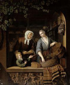 Frans van Mieris (II) | The Grocer's Shop, Frans van Mieris (II), 1715 | De kruidenierster. Gezicht in een stenen venster op een kruidenierswinkel waar een jonge vrouw rozijnen afweegt voor een vrouw met een jongetje. In de winkel staan schappen met allerlei producten, op de vensterbank ligt een kaas. Onder de vensterbank een bas-reliëf met muziekmakende putti.