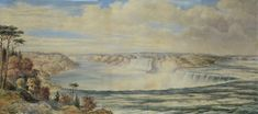 Washington Friend (British/American, 1820 - 1886), Niagara Falls From Above with railroad and train on bridge in background, watercolor on paper, poss for sale at auction on 17th April   Bidsquare British American, Outdoor Settings, Watercolor Background, Natural Wonders, American Artists, Niagara Falls, Washington, Bridge, Hand Painted