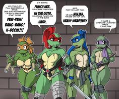 OMG!!!! I LOVE THIS!!! As a huge fan of the TMNT franchise and the characters I would actually love to see the female counterparts to them in a series, that would be adorable! Sort of like the chipmunks!!!! I love these designs too, keeping it classic but feminine