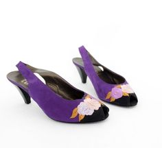 Vintage shoes / purple floral embroidery sling back peep by nemres, $35.00