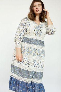 Plus Size Boho - roseybeeme Rocker Look, Size 16 Dresses, Unique Dresses, Dresses Online, Boho Look, Tiered Dress, Embroidered Lace, Floral Maxi Dress, Free People Dress