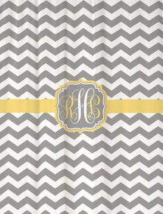Shower Curtain - Gray and White Chevron with Yellow Accents - Personalized! $75.00