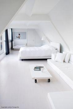 White bedroom attic