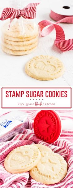Home Made Doggy Foodstuff FAQ's And Ideas Stamp Cookies Are Made With Shortening. The Sugar Cookies Are An Easy Christmas Recipe And Have Messages For Santa Claus Stamped Sugar Cookie Recipe, Stamp Cookies Recipe, Sugar Cookies Recipe, Yummy Cookies, Shortbread Cookies, Best Cookie Recipes, Holiday Recipes, Valentines Recipes, Candy Recipes