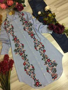 🌸🏵️🌺🌼🌻 Stylish Dresses For Girls, Casual Dresses, Casual Outfits, Muslim Fashion, Hijab Fashion, Fashion Dresses, Kurti Designs Party Wear, Kurta Designs, Embroidery Suits