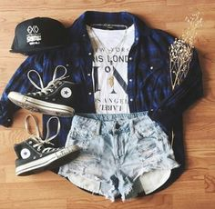 White Graphic Tee and Denim Shorts with Blue Flannel and Black High-Top Converse