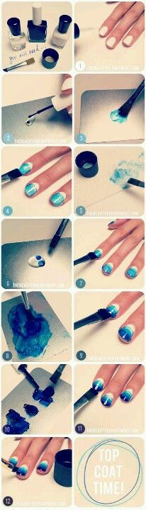 """YOU WILL NEED: A clear nail polish (don't use a quick drying clear coat), a white nail polish, a dark rich nail polish color of your choice (WE USED THIS ONE in """"INKY""""), a metal tray or a piece of cardboard to mix on, acetone or polish remover, a paper towel, paintbrush–the width of the paintbrush must be as wide as or wider than your nail. 1. Make sure your nails are completely clean and begin by painting your base with a solid white coat. A bright white color is important because it will…"""