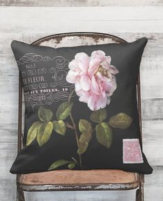 Pillow Cover Pink Rose Botanical Flower on Black #3