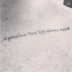 "Tattoo #13 (2015): Adam Lambert adds a lyric tattoo ""Chasing The Original High"" close to his heart | Source: Adam Lambert instagram ""this album is now LITERALLY close to my heart ;)"""