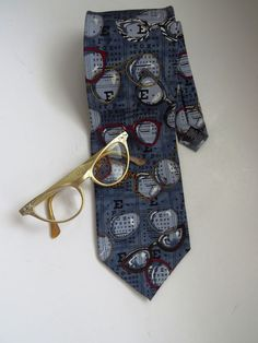 Vintage Eye Doctor Necktie Novelty Tie Optometrist Silk Tie by Ralph Marlin #RalphMarlin #NeckTie