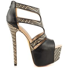Shake up your look with the A Byss by Luichiny. This warm weather look features a tribal printed upper with black synthetic leather. A tall 6 inch heel and 2 inch platform complete this sleek stiletto. Fab Shoes, Crazy Shoes, Me Too Shoes, Women's Shoes, Black Shoes, Hot Heels, Sexy Heels, Stiletto Heels, All About Shoes