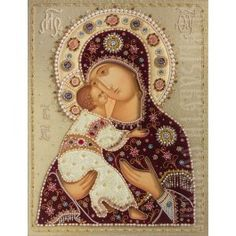 Mother of God of Vladimir, made to order. Catalog of St Elisabeth Convent. Order here: http://catalog.obitel-minsk.com/icons-prav/icons-in-oklad/textile-oklads.html?&___store=default #icon #MotherofGod #VirginMary #Blessed