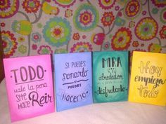 Cuadritos pintados con frases Ideas Para, Decoupage, Diy Crafts, Lettering, Handmade, Home, Painted Driftwood, Wooden Signs, Paintings