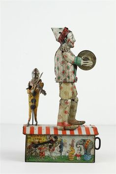 "Antique 1920's Unique Art Dandy-Jim Clown Dancer Tin Wind-Up Working 9.25"" Tall"