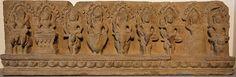 The nine Devas, Khleangs artwork from Cambodia (~1000 CE). From left to right: Surya (Sun) on chariot, Chandra (Moon) on pedestal, Yama on buffalo, Varuna on swan, Indra on elephant, Kubera on horse, Agni on ram, Rahu on clouds and Ketu on lion.