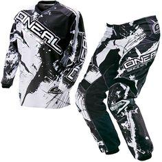 ONeal Element Shocker Schwarz SET MX Moto Cross Hose Jersey Handschuhe Motorrad