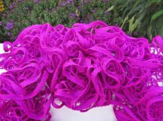 Neon Purple Ruffled Scarf - Premier Yarns Starbella - Purple Panic