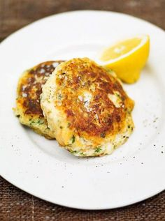 Salmon fishcakes   Jamie Oliver   Food   Jamie Oliver (UK). Could eat for dinner one day and on a salad for lunch the next day.