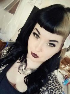 Half Black and half blonde bettie bangs!