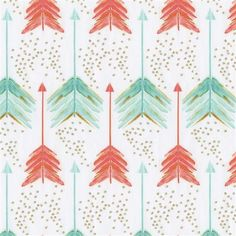 Coral and Teal Arrows Fabric by the Yard | Coral Fabric | Carousel Designs